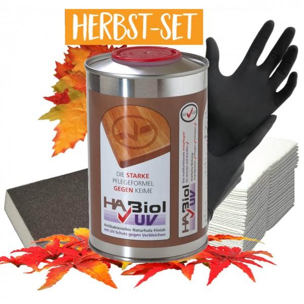 Herbst-Set - HABiol UV 0,5 Liter, Handschuhe, Reinigungstücher, Schleifschwamm