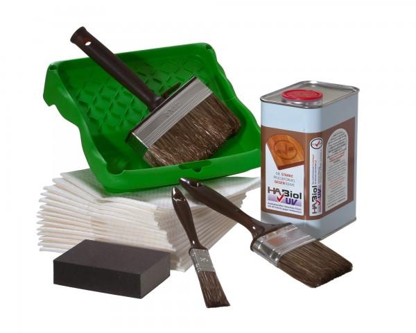 Sommerset Außen - 1l HABiol UV Holzpflegeöl, 3-teiliges Pinselset und Putztücher
