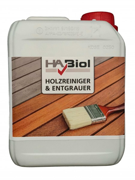 HABiol Holzreiniger und Entgrauer für Holz im Außenbereich 2,5 Liter