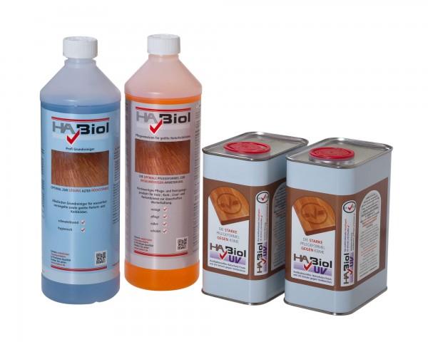 Parkettpflegeset: 1 Liter Wischpflege, 1 Liter Profi Grundreiniger und 2x1 Liter HABiol UV Bodenöl